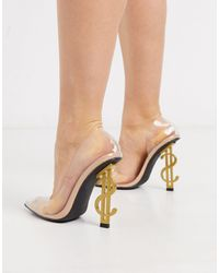 Public Desire Dolla Bills Clear Heeled Shoe - Natural
