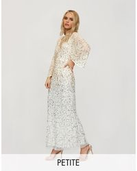 Miss Selfridge Maxi Sequin Dress With Open Back Detail - White