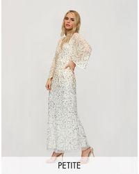 Miss Selfridge Vestito lungo oro con strass e apertura sulla schiena - Bianco