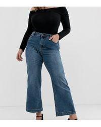 Simply Be Joss Kick Flare Jeans In Vintage Blue