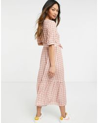 Y.A.S . Tie Front Gingham Midi Dress - Red