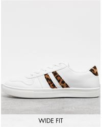 London Rebel Wide Fit Lace Up Trainers - White