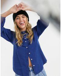 M.i.h Jeans - M.i.h. Camicia Colt senza colletto blu - Lyst