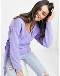 Glamorous V Neck Wrap Knitted Jumper - Purple