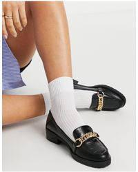 Miss Selfridge Chunky Loafer With Gold Chain - Black