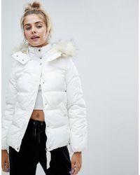 Bershka - Padded Jacket With Faux Fur Hood In White - Lyst