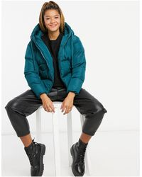 Threadbare Hooded Puffer Jacket - Blue