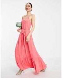 Vila Satin Maxi Cami Dress - Pink