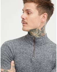 ASOS Muscle Fit Ribbed Half Zip Sweater - Gray