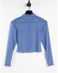 Motel 90s Fitted Mesh Button Front Shirt - Blue