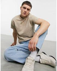 ASOS Camiseta beis con mangas remangadas - Neutro