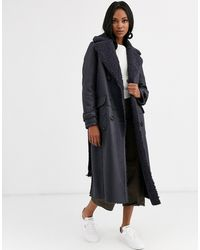 Urbancode Reversible Shearling Long Length Belted Coat - Blue
