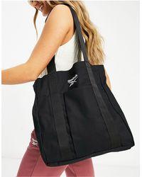 Reebok Maxi borsa di tela nera con logo - Nero