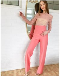 Vesper – Zwei-in-Eins-Jumpsuit mit Spitzendetail - Pink