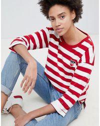 Hilfiger Denim - Heart Embroidered Stripe 3/4 Sleeve T-shirt - Lyst