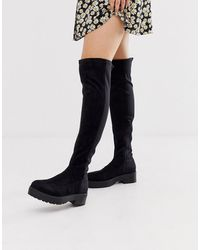 Lost Ink Cleated Flat Elastic Over The Knee Boot - Black