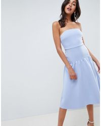 ASOS - Bandeau Drop Waist Midi Dress - Lyst