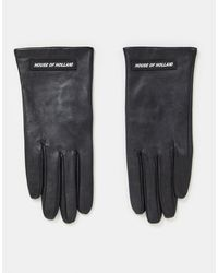 House of Holland Leather Gloves With Logo - Black