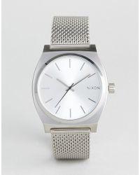 Nixon - Time Teller Luxe Silver Mesh Watch - Lyst