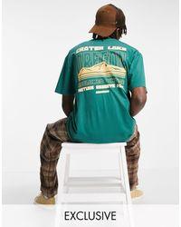 """Reclaimed (vintage) Camiseta verde holgada con estampado gráfico """"Oregon"""""""