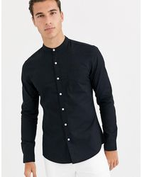 TOPMAN Long Sleeve Oxford Shirt With Grandad Collar - Red