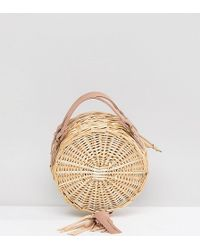 South Beach Round Straw Cross Body Bag With Tassel - Natural