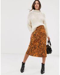Miss Selfridge Animal Print Bias Cut Slip Skirt - Multicolour