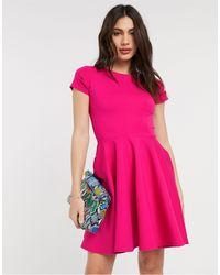 Closet Розовое Приталенное Платье С Короткими Рукавами -розовый