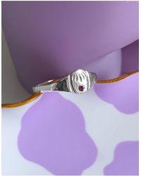Kingsley Ryan Кольцо Из Стерлингового Серебра С Искусственным Аметистом Для Рожденных В Феврале -серебристый - Пурпурный