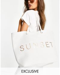 South Beach Sunset Beach Bag - White