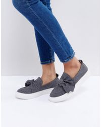 Glamorous Grey Knotted Bow Slip On Plimsoll