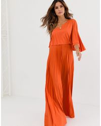 ASOS One Shoulder Pleated Crop Top Maxi Dress - Orange