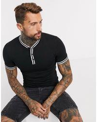 ASOS Camiseta henley con ribetes en negro