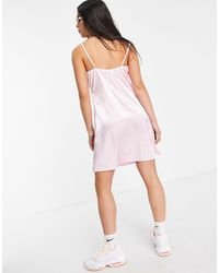 Another Reason Satin Mini Slip Dress With Contrast Lace - Pink