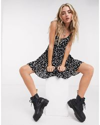 Bershka Babydoll Floral Dress - Black