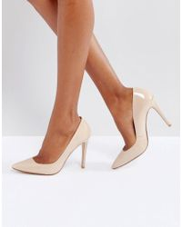 Dune - Aiyana Nude Leather Heeled Shoes - Lyst