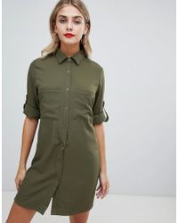 Missguided - Utility Shirt Dress In Khaki - Lyst