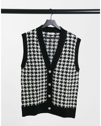 Mango Knitted Vest With Jewel Buttons - Black