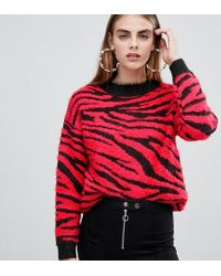 Bershka - Zebra Print Jumper In Zebra Red - Lyst