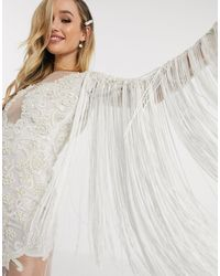 A Star Is Born Bridal Dress With Fringed Sleeves And Attached Bodice - White