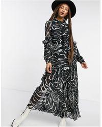 TOPSHOP Pleated Midi Dress - Black