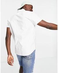 Hollister Белая Облегающая Оксфордская Рубашка С Короткими Рукавами И Логотипом -белый