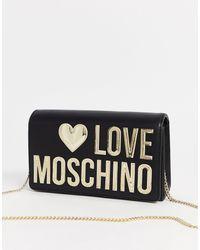 Love Moschino Mini Crossbodytas Met Logo - Zwart