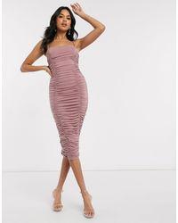 AX Paris - Светло-розовое Платье Миди Со Сборками -розовый - Lyst
