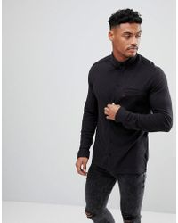 Original Penguin - Pique Buttondown Shirt Small Logo Slim Fit In Black Marl - Lyst
