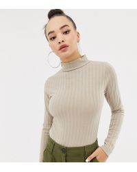 Missguided - Ribbed Roll Neck Bodysuit In Beige - Lyst