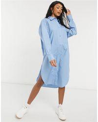 Monki Голубое Платье-рубашка Миди Из Поплина Из Органического Хлопка Carol-голубой - Синий