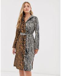 Liquorish Платье-рубашка Миди С Тигровым Принтом -мульти - Многоцветный