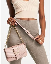Call It Spring By Aldo Gurlpleaze Vegan Double Ring Quilted Crossbody Bag - Pink