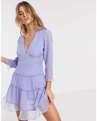 RahiCali Rahi Checkers Joy Layered Ruffle Mini Dress-purple